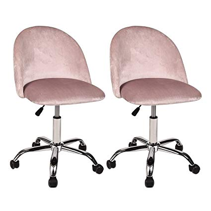 Amazon.com: PULUOMIS Home Office Chair Pink, Set of 2 Mid Back