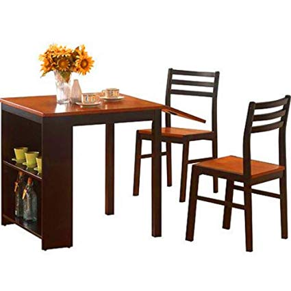 Amazon.com - BS Drop Leaf Dining Table with Chairs Shelves Storage