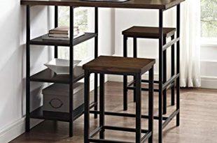 Amazon.com: Pub Table Set 3 Piece - Modern Bistro With Storage for