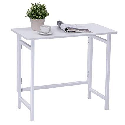 Amazon.com : TANGKULA Folding Computer Desk, Simple Metal Frame