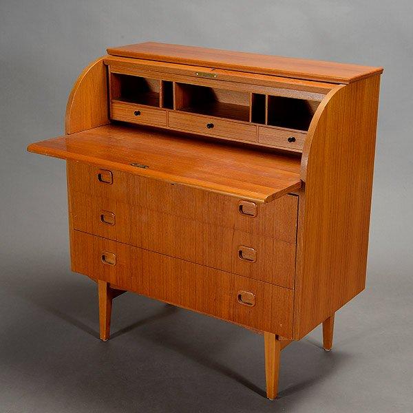 Swedish Mid Century Modern Teak Rolltop Desk