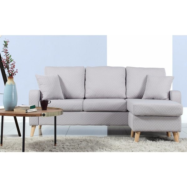 Shop Mid-Century Modern Small Space Sectional Sofa with Reversible