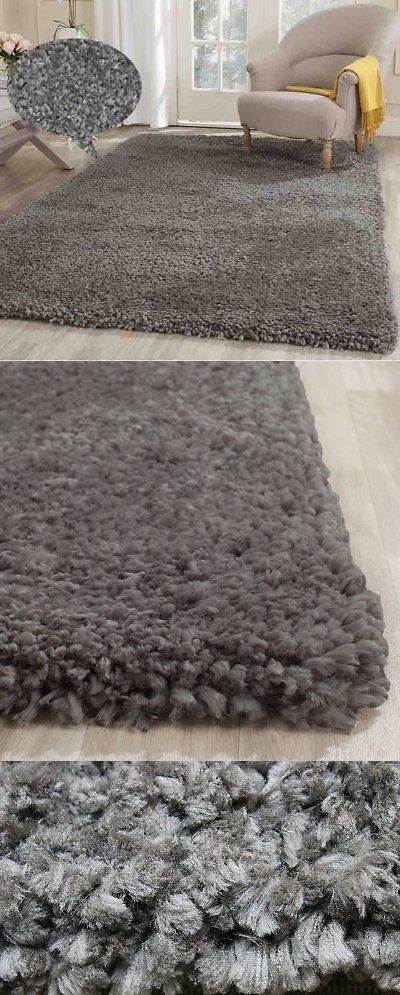 Area Rugs 45510: Fluffy Fuzzy Gray Modern Shaggy Shag Fuzzy