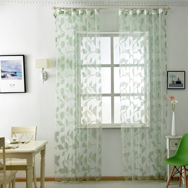 Free shipping Kitchen leaf transparent design sheer curtains tulle