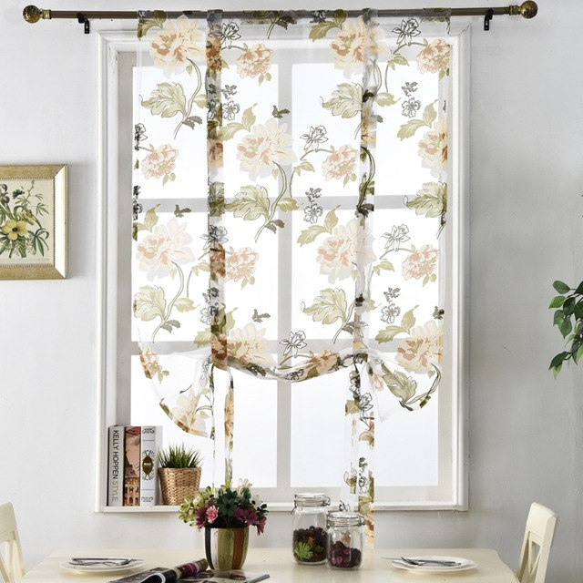 Window modern kitchen door panel treatment curtains flower curtains