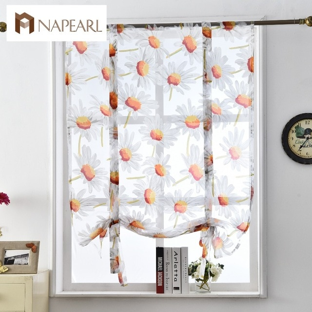 Floral roman curtains short kitchen door panel tulle curtains short