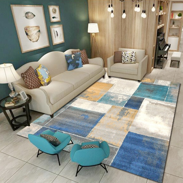 3D Carpets for Living Room Modern Geometric Square Area Rugs Bedroom