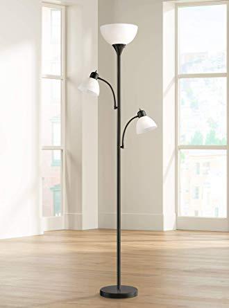 Bingham Modern Torchiere Floor Lamp 3-Light Tree Black Metal White