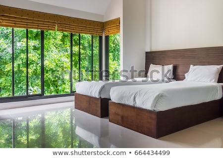 Modern Master Bedroom Twin Beds Wide Stock Photo (Edit Now