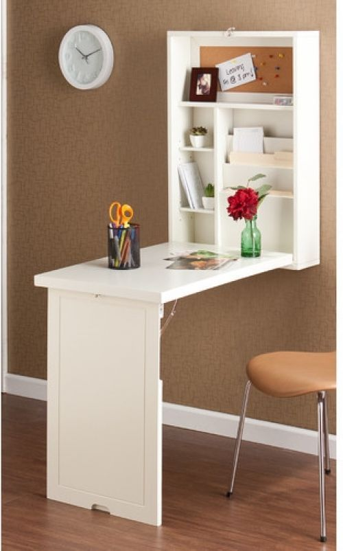 Foldable White Floating Desk Wall Mount Folding Writing Space Saver