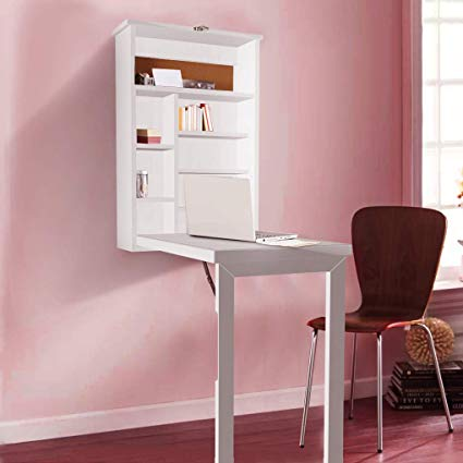 Amazon.com : Writing Desk with Storage Cabinet Wall Mount Computer