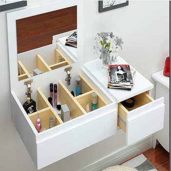 Wall Mounted White Color Modern Wooden Dressing Table With Mirror