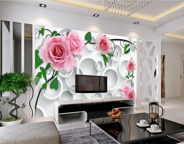 Custom modern wallpaper design,Circle background rose papel de