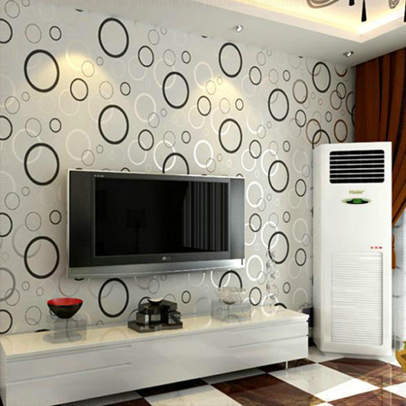 Contracted Fashion Modern 3D Printing Wallpaper Roll Circle Living