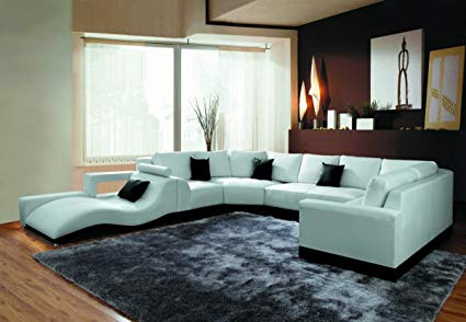 Amazon.com: 2264B Modern White Leather Sectional Sofa: Kitchen & Dining