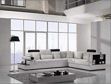 Amazon.com: Vig Furniture T117 Modern White Leather Sectional Sofa