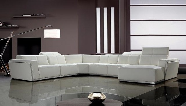 Contemporary White Leather Sectional Sofa with Retractable Headrests