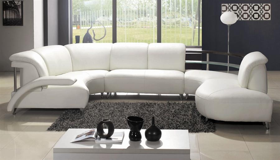 Modern White Wrap-Around Design Leather Sectional Sofa TOS-LF-401