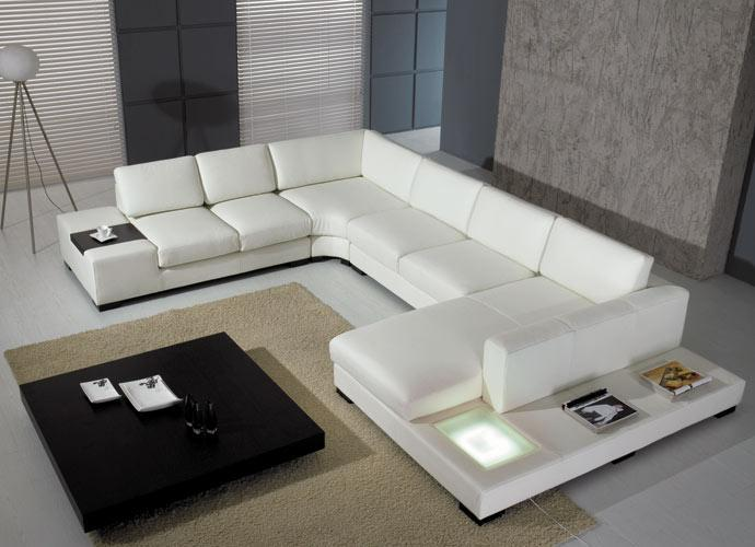 T35 - White Bonded Leather Sectional Sofa Set with Light - Modern