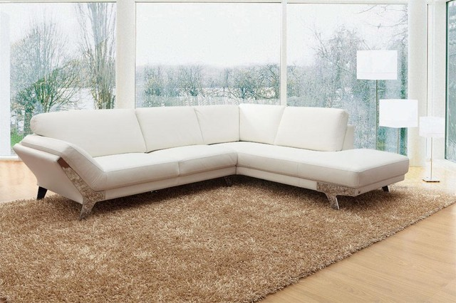 Modern White Sectional Sofa in Top Grain Italian Leather - Modern