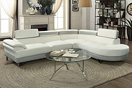 Amazon.com: 2Pcs Modern White Light Grey Faux Leather Sectional Sofa
