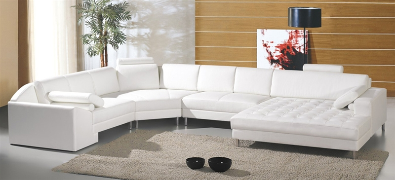 Modern White Sectional Sofa Set