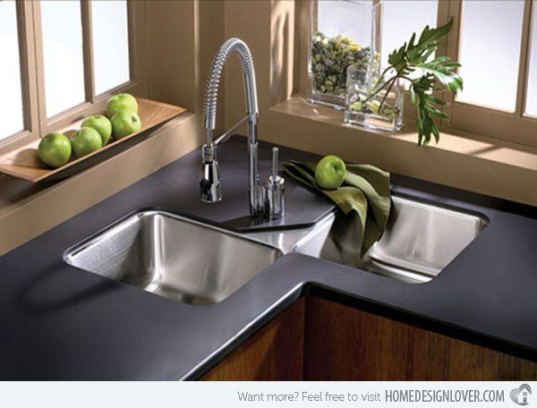 15 Cool Corner Kitchen Sink Designs | Home | Kitchen sink design
