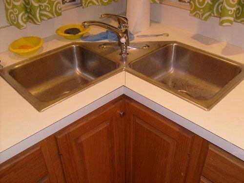 Modular Kitchen With Corner Kitchen Sink Cabinet