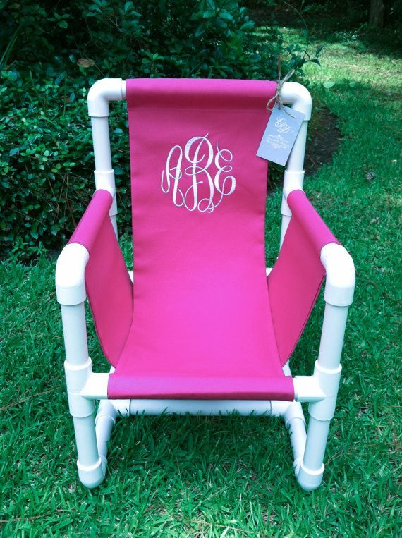 Monogrammed PVC Toddler Chair Canvas Cover by EmmabellasDesigns