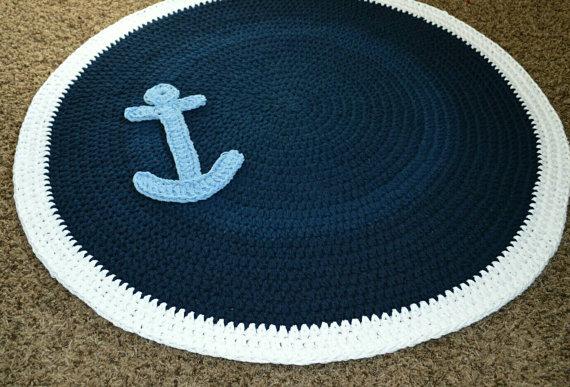 Nautical Anchor Crochet Nursery Rug Playroom Rug by CubbyCreations
