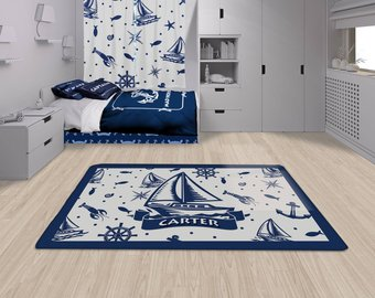 Colorful and designable cozy nautical rugs for nursery or for