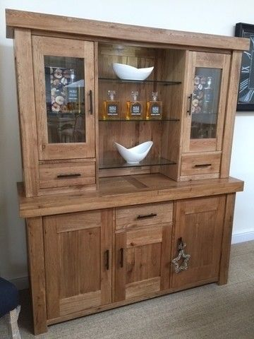 Hazel Vintage Solid Oak Glazed Dresser - Oak Dressers & Display
