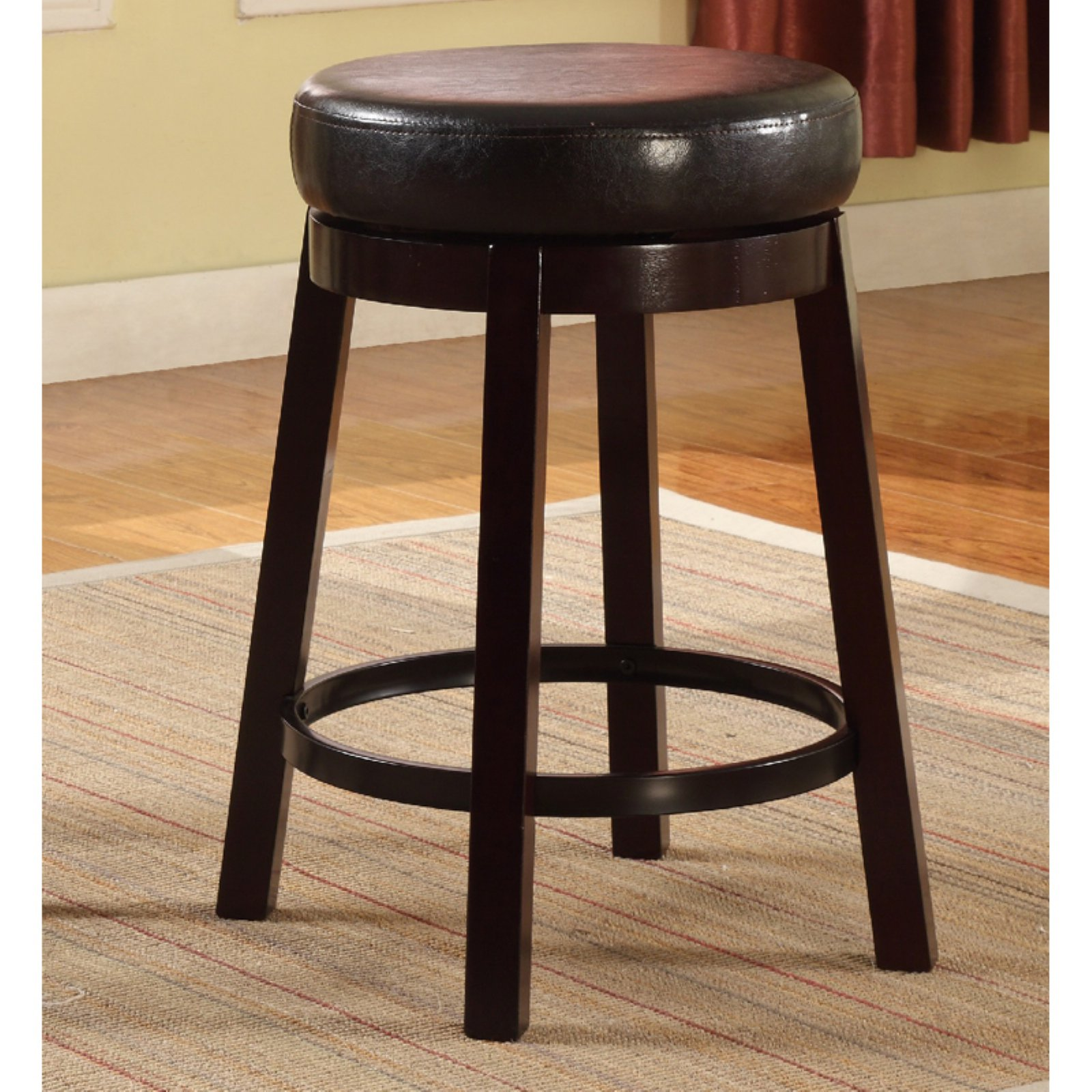 Roundhill Wooden Swivel Barstools, Counter Height, Set of 2