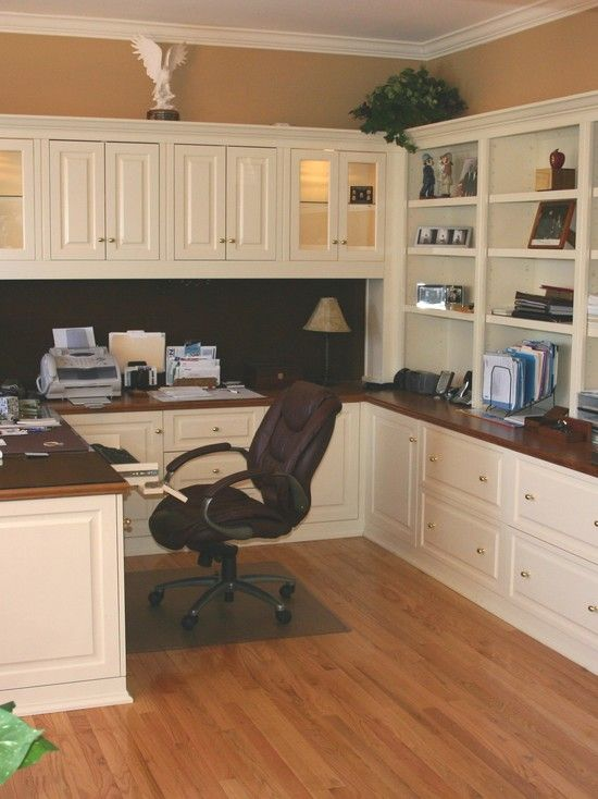 Home Office cabinets - The color combo of dark wood and white