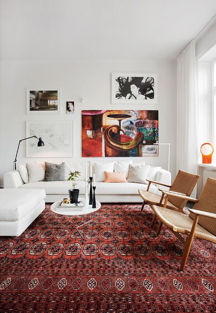 Modern Classic Home Apartment / Living room / White walls & couch