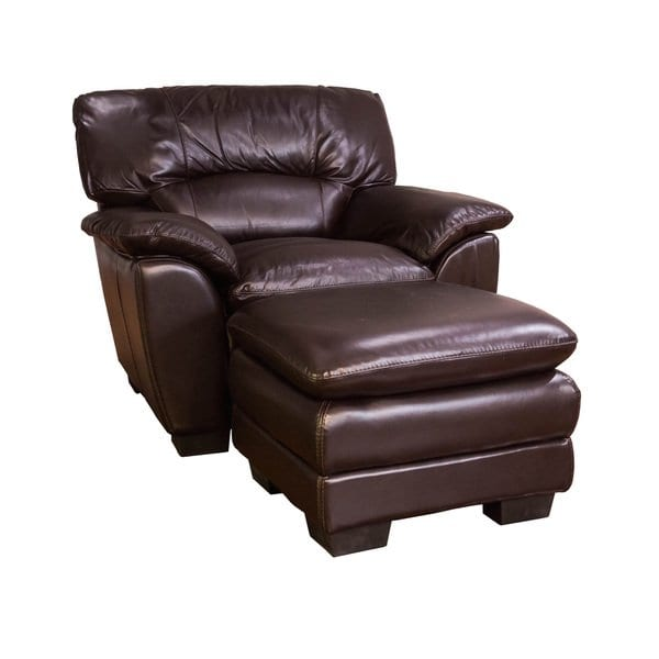 Shop Oversized Chocolate Leather Chair and Ottoman Set - Free