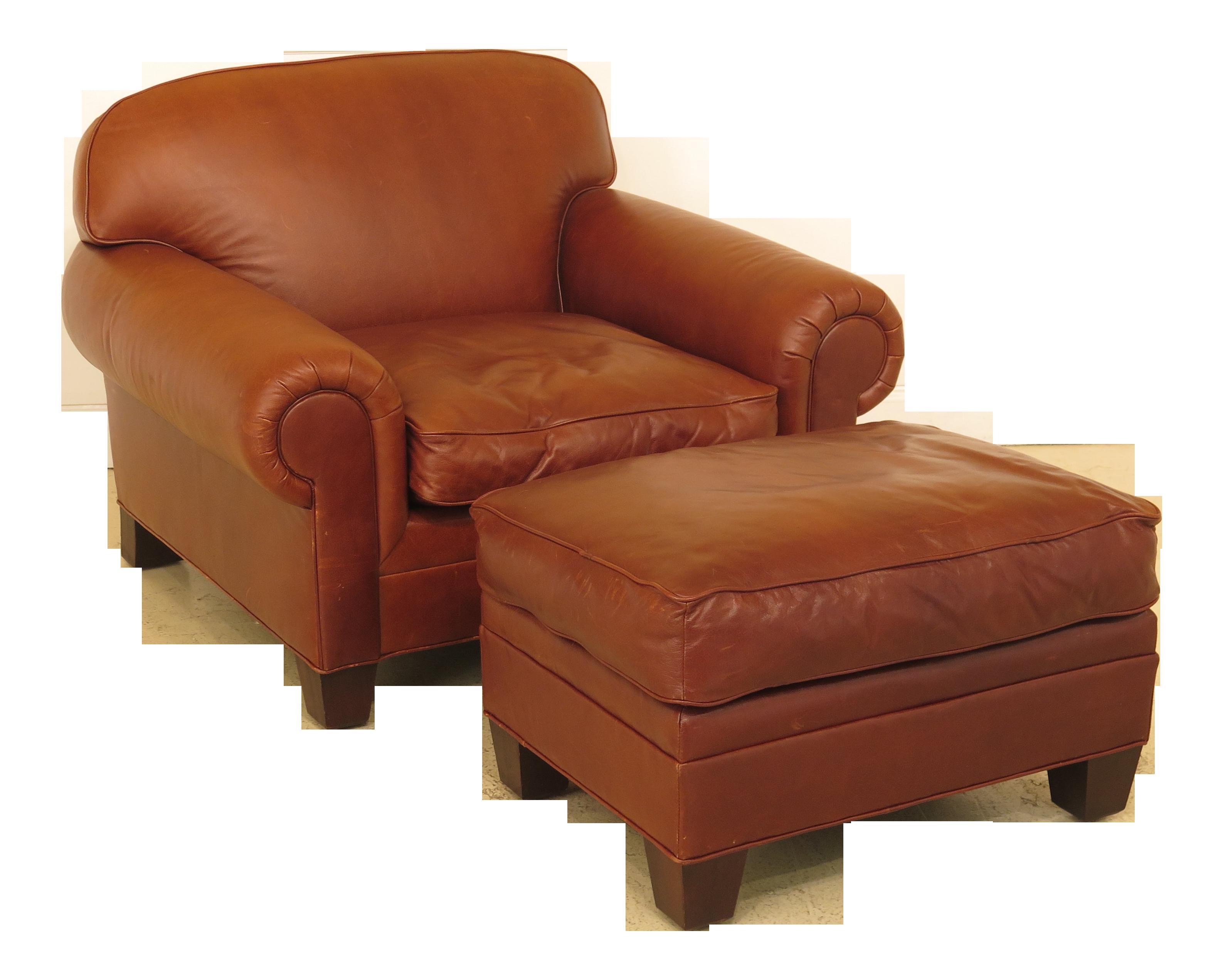 Modern Ralph Lauren Oversized Leather Chair & Ottoman | Chairish