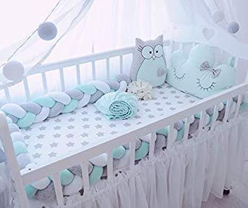 Amazon.com : Baby Crib Bumper Plush Nursery Cradle Decor Knotted