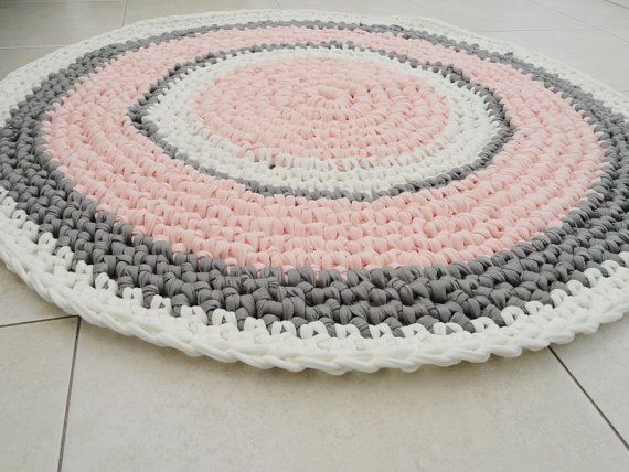 Crochet rug round rug nursery girl rug bath mat bedroom rug kitchen