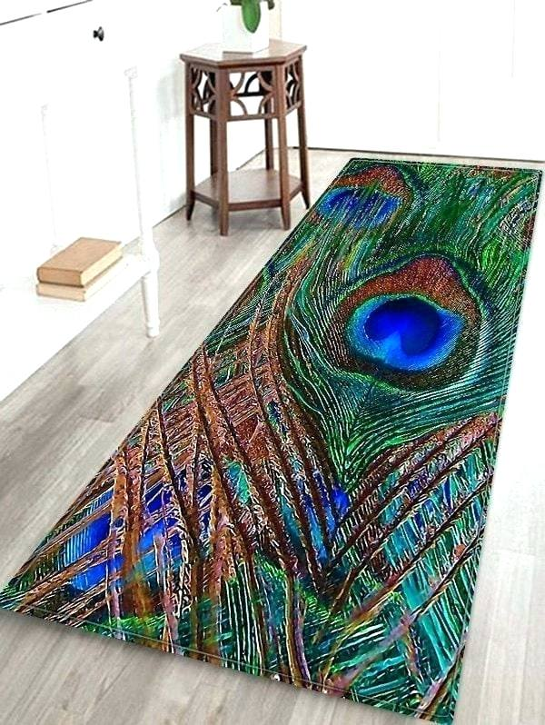 Peacock Area Rug Latest Peacock Feather Pattern Water Absorption