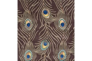 KAS Rugs Catalina Mocha/Brown Cotton and Wool Peacock Feathers
