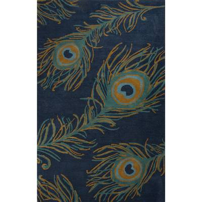 Modern Peacock Feather Print Blue Wool and Viscose Area Rug - Blue