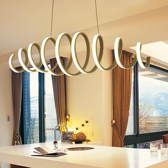 Creative Modern LED Pendant Light Aluminum Acrylic Spring Ceiling