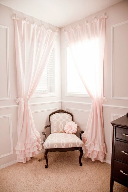 DIY Nursery in Pink & Grey - Love the ruffled curtains and white