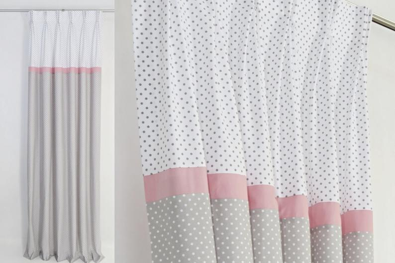 Baby Girl Nursery Gray Pink Blackout Curtains Curtains for | Etsy