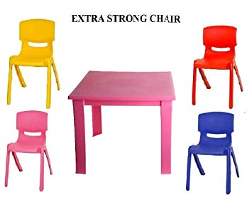Premium Childrens Kids Plastic Study Table and Chair Set for Nursery