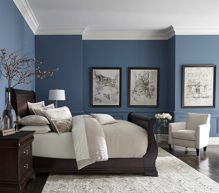 pretty blue color with white crown molding | Inspiration: Blue in