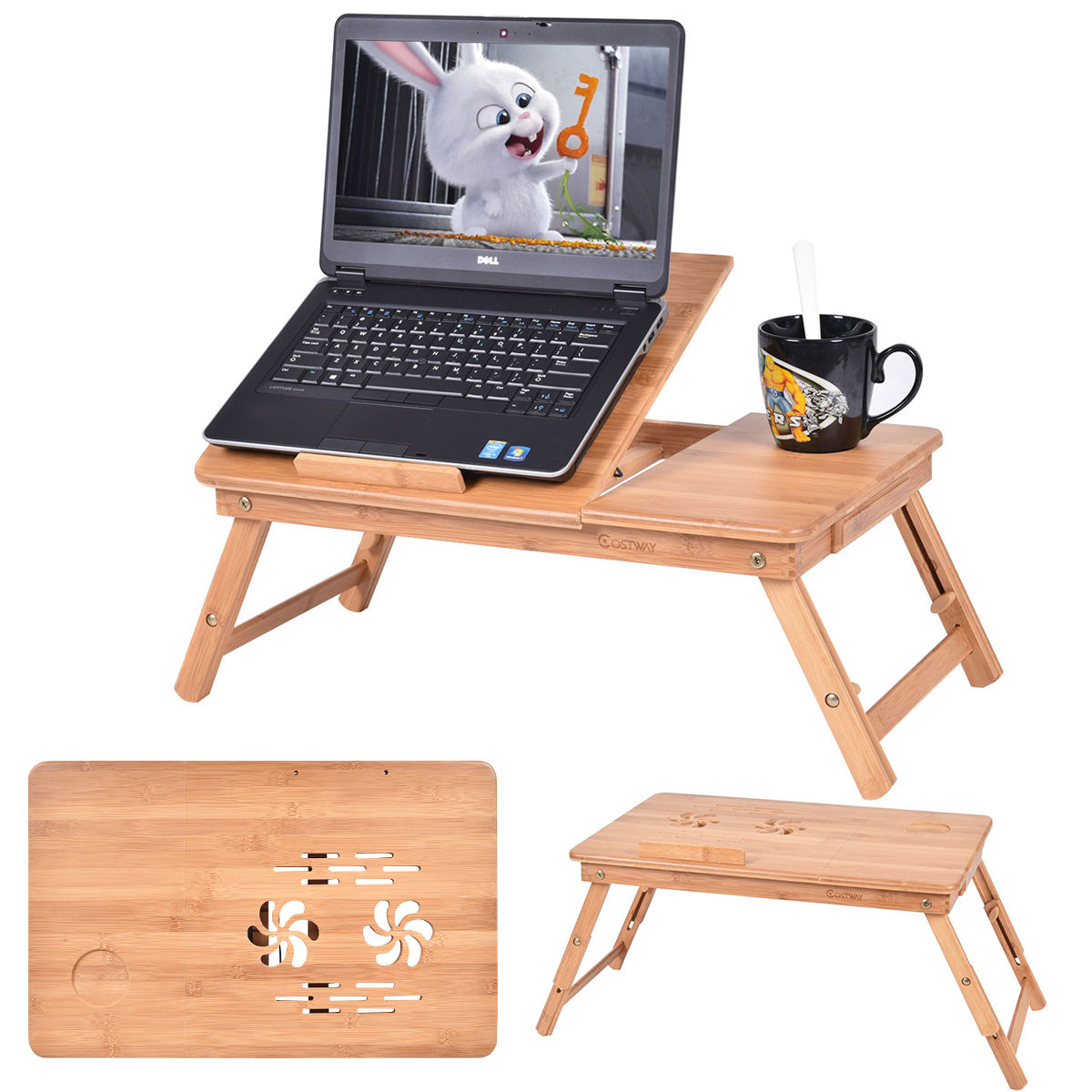 Costway Portable Bamboo Laptop Desk Table Folding Breakfast Bed