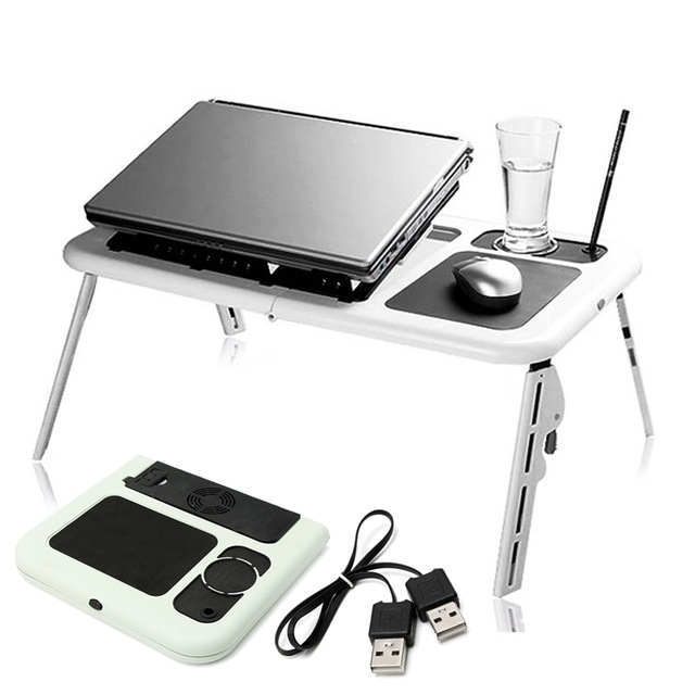 Adjustable Folding Laptop Table E Table With Tray Cooling Fans Stand