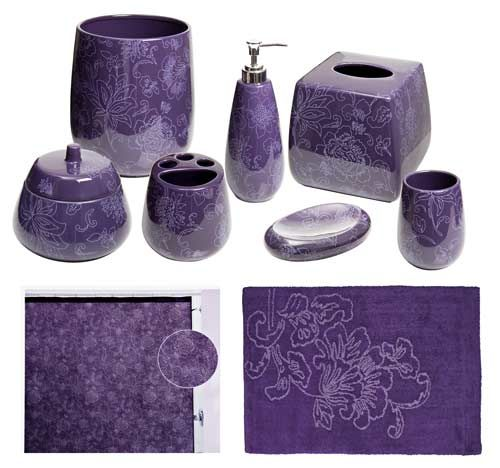 Botanica Purple Bathroom Accessories, Deluxe Set | Carolyn reeds